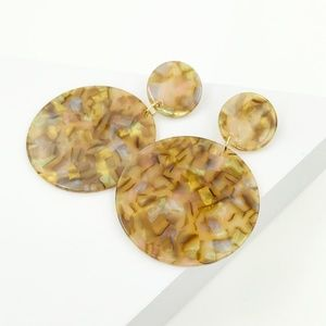 Circle Drop Earrings in Iridescent Camel